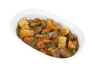 Roasted beef with vegetables in baking dish