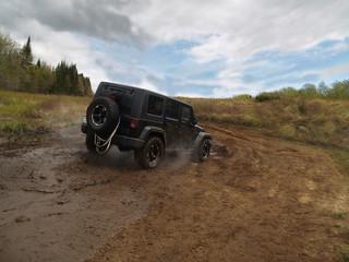 Jeep noir avec boucane