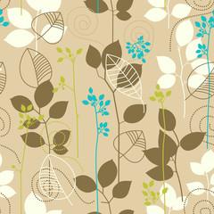 Fototapete - Retro fall leaves seamless pattern