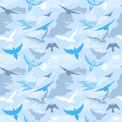 Wall Mural - Birds flying in the sky seamless pattern