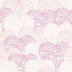 Pink hearts background on white. Seamless pattern.