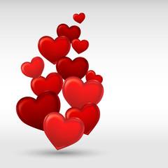 Stylish red valentine day heart background. Vector illustration.