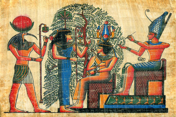 egyptian papyrus  with elements of egyptian ancient civilization