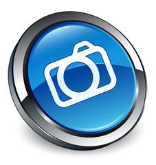 Camera icon 3D blue button