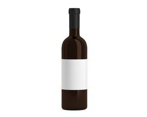 Weinflasche braun mit Etikett