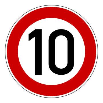 Verkehrszeichen - Höchstgeschwindigkeit 10 km/h