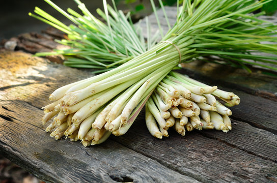 Lemon Grass on wood background
