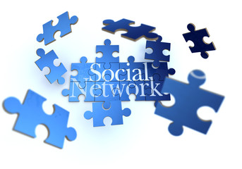 Social network blue and white