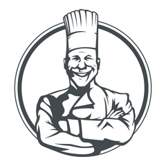 smiling cook in ring vector illustration isolated on white