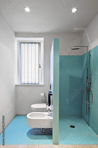 Cabina doccia in muratura a sanitari in un bagno moderno stock photo and royalty free images - Stock sanitari bagno ...