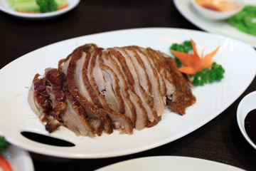 Peking Duck sliced and prepared