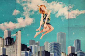art collage with jumping woman