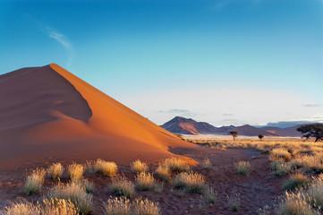 Beautiful sunset dunes Namib desert, Sossusvlei, Namibia