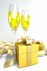 illustration of champagne glass with gift box