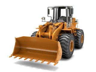 Hydraulic loader. Front view. Isolated on white
