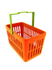 Colorful shopping basket isolated on white