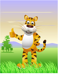 funny tiger cartoon with landscape background