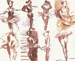 collection of ballet dancers, water colors technique