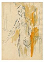 ballerina, water colors technique, sketch