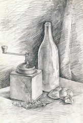 still life - pencil technique, bottle and mill