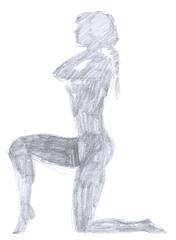 pencil drawing - woman