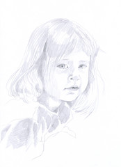 pencil drawing - child (little girl)
