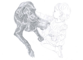 pencil drawing - child and dog