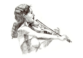 hard tip marker, hand drawing - musician