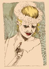 hand drawing illustration (original) : Sad bride