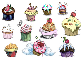 Cupcakes. (These are originals of drawings.)