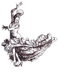 Classical dancer dances. Hand drawing
