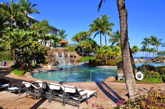 View from luxury hotel, Kaanapali, Maui, Hawaii