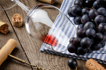 Empty wine glass on wooden table