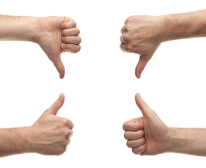 front and back male hands showing thumbs up and down