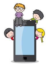 Niños con un teléfono mávil