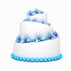 Weddind cake with flowers over white