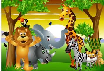 Wild African animal cartoon with blank sign