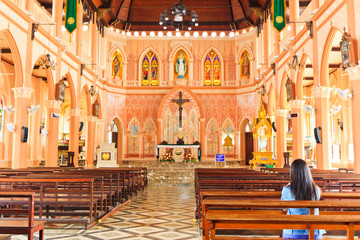 Inside of Over 100 years old church in Chanthaburi province Thai