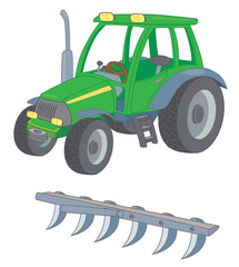 Farm tractor with a plow