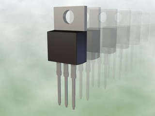 3d render of a TO-220AB MOSFET Electronic Package