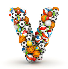 Letter V, gaming balls alphabet