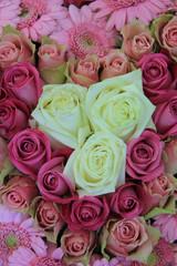 Pink bridal, flower arrangement, roses and gerberas