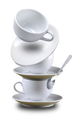 Stack and falling coffee cup