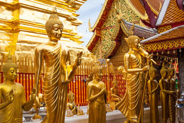 statues of Buddha in a temple