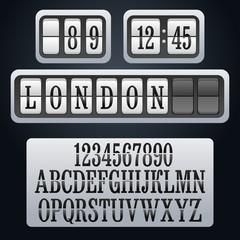 vector white alphabet of mechanical panel flipping timetable