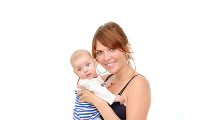 Mother holding sweet baby