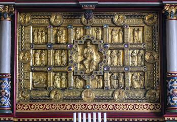 Golden medieval altar in Stadil church, Jutland,