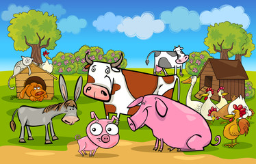 Poster Ranch cartoon rural scene with farm animals