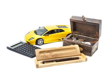 Money, car and pen