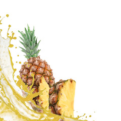 Pineapple with splash isolated on white